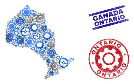 Repair workshop vector Ontario Province map composition and stamps. Abstract Ontario Province map is done with gradient scattered cogs. Engineering territorial plan in gray and blue colors, Illustration