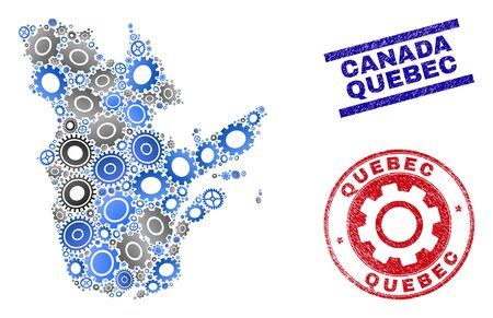 Wheel vector Quebec Province map mosaic and seals. Abstract Quebec Province map is composed with gradiented scattered gear wheels. Engineering territory scheme in gray and blue colors,