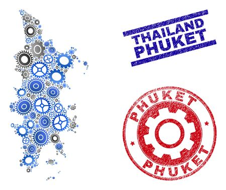 Industrial vector Phuket map composition and seals. Abstract Phuket map is designed from gradiented randomized gear wheels. Engineering territorial scheme in gray and blue colors,