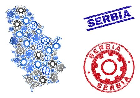 Workshop vector Serbia map composition and stamps. Abstract Serbia map is created from gradiented scattered cogwheels. Engineering geographic scheme in gray and blue colors,