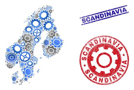 Cog vector Scandinavia map mosaic and stamps. Abstract Scandinavia map is created from gradient random gear wheels. Engineering territorial scheme in gray and blue colors,  イラスト・ベクター素材