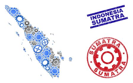 Gear vector Sumatra map collage and seals. Abstract Sumatra map is done of gradient random gears. Engineering territorial scheme in gray and blue colors, Stock Vector - 124838131