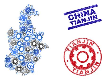 Gear vector Tianjin City map composition and seals. Abstract Tianjin City map is created with gradient random gearwheels. Engineering geographic scheme in gray and blue colors, Çizim