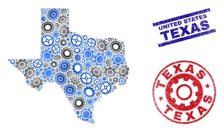 Repair workshop vector Texas State map mosaic and stamps. Abstract Texas State map is organized from gradiented randomized gearwheels. Engineering geographic plan in gray and blue colors,