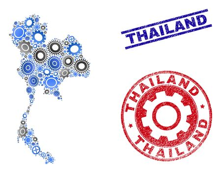 Repair service vector Thailand map collage and stamps. Abstract Thailand map is created of gradient scattered gearwheels. Engineering territory scheme in gray and blue colors,
