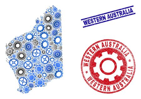 Workshop vector Western Australia map mosaic and seals. Abstract Western Australia map is formed with gradient randomized cogwheels. Engineering territory plan in gray and blue colors, Çizim