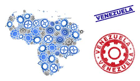 Mechanics vector Venezuela map composition and seals. Abstract Venezuela map is composed of gradient random gearwheels. Engineering territorial scheme in gray and blue colors, Çizim