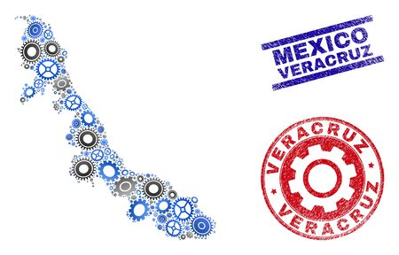 Gear vector Veracruz State map collage and seals. Abstract Veracruz State map is composed of gradiented randomized gear wheels. Engineering territorial plan in gray and blue colors,