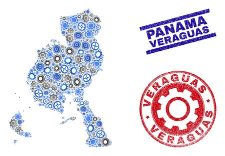 Service vector Veraguas Province map composition and seals. Abstract Veraguas Province map is constructed with gradient random gear wheels. Engineering territorial scheme in gray and blue colors, Çizim