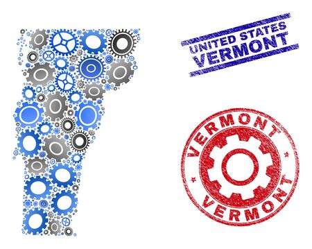 Repair service vector Vermont State map composition and seals. Abstract Vermont State map is organized from gradiented scattered gears. Engineering territorial plan in gray and blue colors,