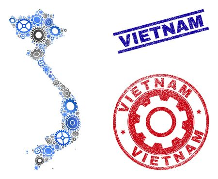 Mechanics vector Vietnam map composition and seals. Abstract Vietnam map is composed of gradient random gears. Engineering territorial plan in gray and blue colors,