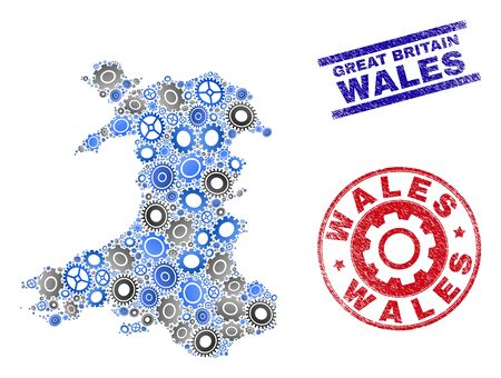 Workshop vector Wales map collage and stamps. Abstract Wales map is designed of gradient random gears. Engineering territorial plan in gray and blue colors, and blue and red rounded and lines stamps,