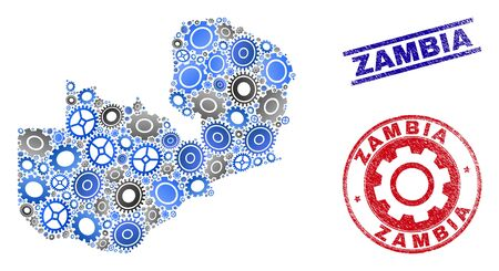 Gear vector Zambia map collage and stamps. Abstract Zambia map is created from gradiented random gears. Engineering territorial plan in gray and blue colors, and blue and red rounded and lines stamps,