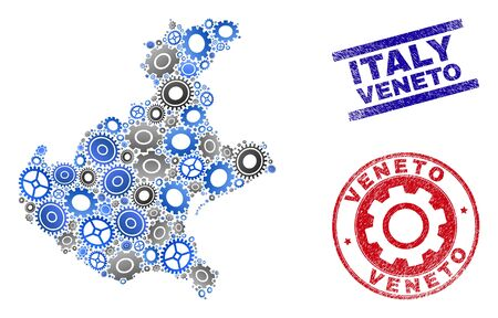 Gear vector Veneto region map collage and seals. Abstract Veneto region map is composed of gradient random gear wheels. Engineering territory scheme in gray and blue colors, Çizim