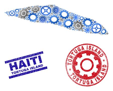 Mechanics vector Tortuga Island of Haiti map composition and stamps. Abstract Tortuga Island of Haiti map is organized from gradiented scattered cogwheels. Çizim