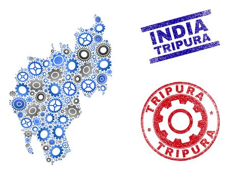 Repair service vector Tripura State map mosaic and stamps. Abstract Tripura State map is formed with gradiented random gears. Engineering territory scheme in gray and blue colors,
