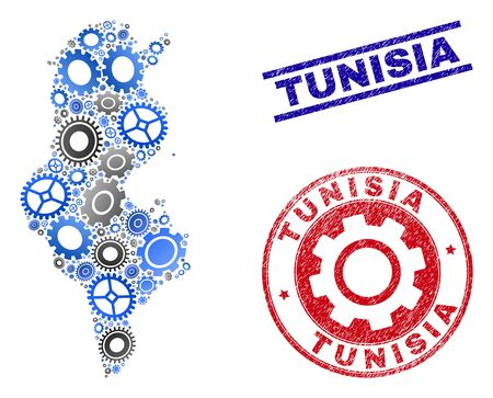 Repair workshop vector Tunisia map mosaic and seals. Abstract Tunisia map is created of gradient random cogwheels. Engineering territory plan in gray and blue colors, Çizim