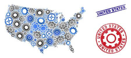 Service vector United States map mosaic and seals. Abstract United States map is created with gradiented scattered gear wheels. Engineering territory scheme in gray and blue colors, Çizim