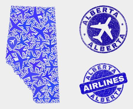 Aircraft vector Alberta Province map mosaic and scratched watermarks. Abstract Alberta Province map is formed with blue flat randomized aircraft symbols and map markers. Delivery plan in blue colors,
