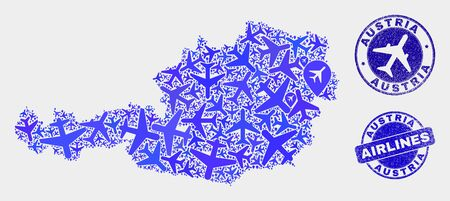 Air plane vector Austria map collage and grunge watermarks. Abstract Austria map is constructed from blue flat scattered aircraft symbols and map pointers. Delivery plan in blue colors, Stock Illustratie