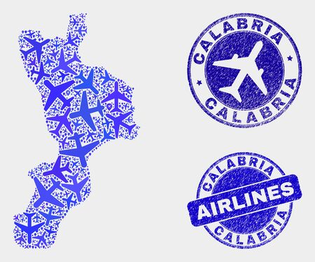 Airlines vector Calabria region map mosaic and scratched seals. Abstract Calabria region map is created of blue flat scattered aviation symbols and map markers. Flight plan in blue colors,