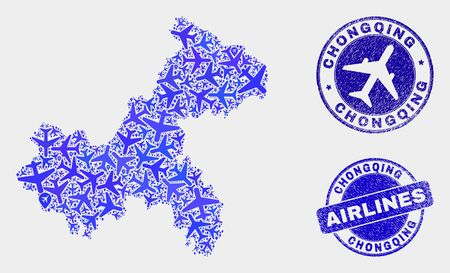 Air plane vector Chongqing City map composition and grunge seals. Abstract Chongqing City map is organized with blue flat scattered airline symbols and map pointers. Flight plan in blue colors, Ilustrace