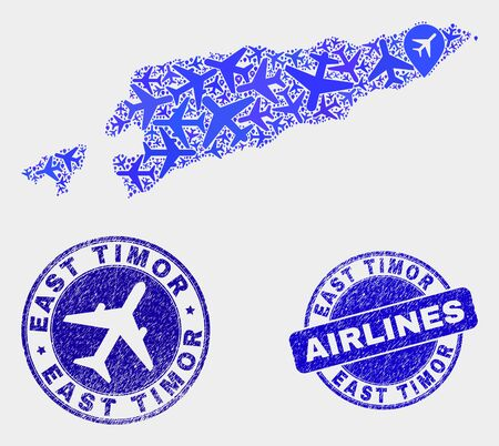 Airlines vector East Timor map composition and scratched seals. Abstract East Timor map is organized from blue flat randomized airlines symbols and map locations. Tourism scheme in blue colors,