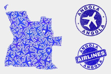 Aircraft vector Angola map composition and grunge seals. Abstract Angola map is formed with blue flat random airplane symbols and map locations. Shipping plan in blue colors, and rounded seals.