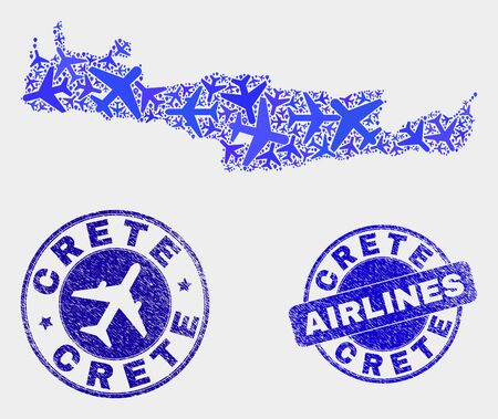 Aircraft vector Crete map collage and grunge stamps. Abstract Crete map is designed with blue flat random airplane symbols and map pointers. Transport plan in blue colors, and rounded stamps. Ilustrace
