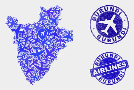 Aviation vector Burundi map mosaic and scratched seals. Abstract Burundi map is created from blue flat scattered aviation symbols and map markers. Delivery scheme in blue colors,