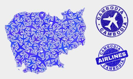 Airplane vector Cambodia map composition and scratched watermarks. Abstract Cambodia map is done from blue flat randomized airplane symbols and map markers. Tourism scheme in blue colors,