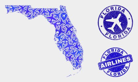 Aircraft vector Florida State map composition and scratched watermarks. Abstract Florida State map is composed with blue flat randomized aircraft symbols and map markers.