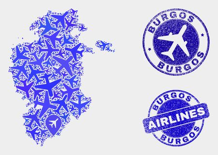 Aviation vector Burgos Province map collage and scratched seals. Abstract Burgos Province map is constructed with blue flat random aviation symbols and map markers. Flight plan in blue colors, Ilustrace