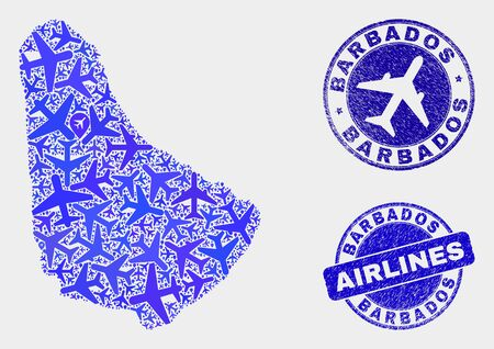 Aviation vector Barbados map composition and grunge seals. Abstract Barbados map is organized of blue flat randomized aviation symbols and map locations. Shipping scheme in blue colors,
