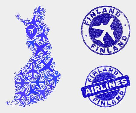 Airlines vector Finland map mosaic and grunge seals. Abstract Finland map is organized from blue flat randomized airplane symbols and map pointers. Tourism scheme in blue colors,