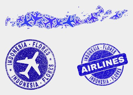 Air plane vector Flores Islands of Indonesia map collage and grunge seals. Abstract Flores Islands of Indonesia map is created with blue flat scattered air plane symbols and map pointers. 版權商用圖片 - 124920491