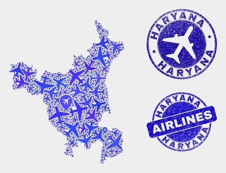 Air plane vector Haryana State map collage and scratched watermarks. Abstract Haryana State map is designed from blue flat scattered air plane symbols and map pointers. Delivery scheme in blue colors,