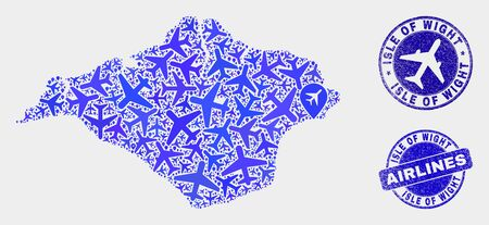 Aircraft vector Isle of Wight map collage and scratched watermarks. Abstract Isle of Wight map is organized of blue flat scattered aircraft symbols and map locations. Transport plan in blue colors, Illustration