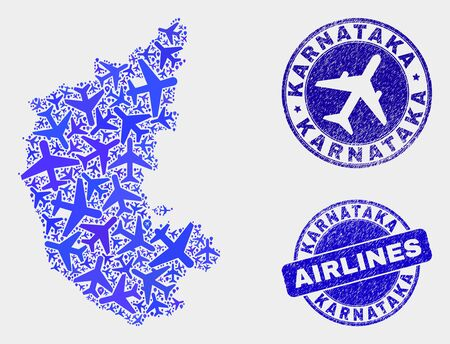 Aviation vector Karnataka State map composition and grunge seals. Abstract Karnataka State map is composed of blue flat random air plane symbols and map pointers. Flight plan in blue colors,