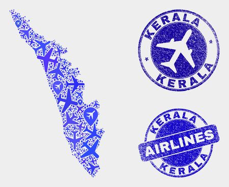 Aviation vector Kerala State map mosaic and scratched stamps. Abstract Kerala State map is created of blue flat randomized aviation symbols and map locations. Delivery scheme in blue colors, Illustration