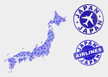Airline vector Japan map composition and grunge stamps. Abstract Japan map is composed with blue flat scattered airline symbols and map markers. Flight plan in blue colors, and rounded stamps.