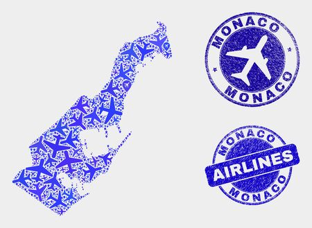 Aviation vector Monaco map collage and grunge seals. Abstract Monaco map is done with blue flat random airplane symbols and map locations. Delivery plan in blue colors, and rounded seals.