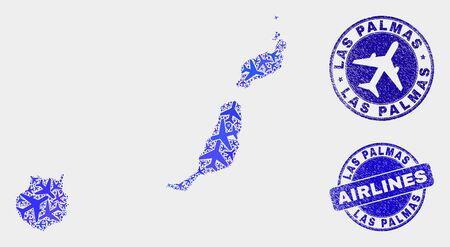 Mosaico del mapa de la provincia de Las Palmas del vector del aeroplano y sellos rayados. El mapa abstracto de la provincia de Las Palmas se forma con símbolos de avión dispersos planos azules y punteros de mapa.