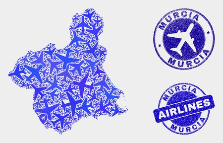 Aircraft vector Murcia Province map mosaic and grunge stamps. Abstract Murcia Province map is organized of blue flat scattered aircraft symbols and map locations. Flight plan in blue colors,