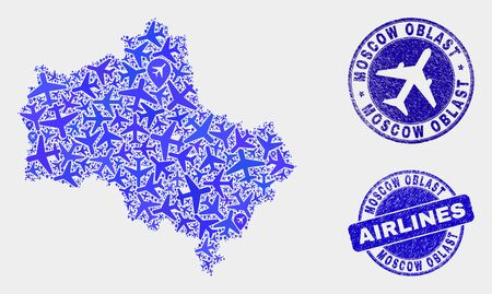 Aircraft vector Moscow Region map mosaic and grunge seals. Abstract Moscow Region map is composed of blue flat random airlines symbols and map markers. Delivery plan in blue colors, and rounded seals.