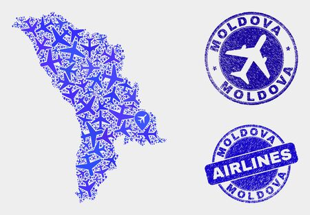Airline vector Moldova map mosaic and scratched watermarks. Abstract Moldova map is composed with blue flat scattered air plane symbols and map locations. Delivery scheme in blue colors,