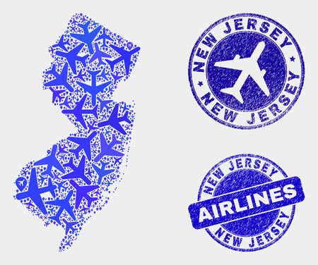 Airplane vector New Jersey State map collage and scratched watermarks. Abstract New Jersey State map is organized of blue flat random aviation symbols and map pointers. Delivery plan in blue colors,