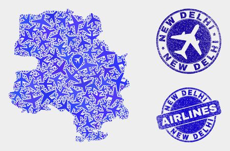 Air plane vector New Delhi City map mosaic and grunge seals. Abstract New Delhi City map is created of blue flat scattered air plane symbols and map locations. Tourism scheme in blue colors, Illustration