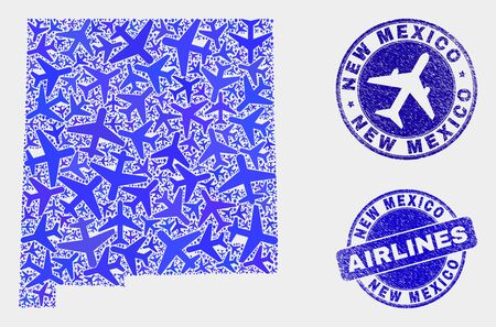 Airlines vector New Mexico State map mosaic and scratched stamps. Abstract New Mexico State map is formed with blue flat randomized airlines symbols and map markers. Tourism plan in blue colors,
