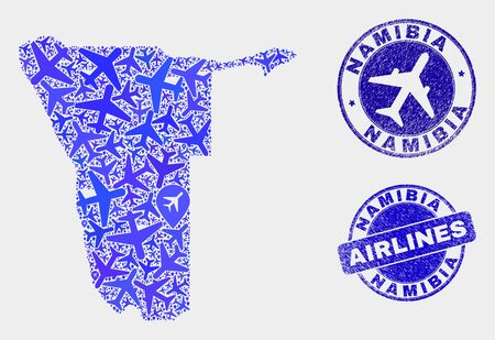 Airplane vector Namibia map mosaic and scratched seals. Abstract Namibia map is formed with blue flat randomized airlines symbols and map pointers. Flight scheme in blue colors, Ilustrace